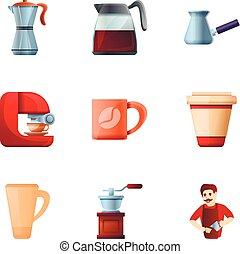 café, barista, ensemble, moderne, style, dessin animé, icône
