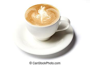 café, barista, tasse, sur, isolé, blanc