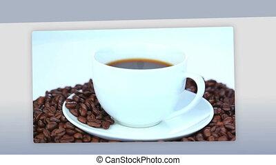 café, boire, femmes, montage