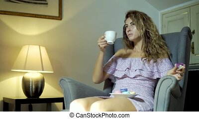 café, boire, girl, délassant, heureux