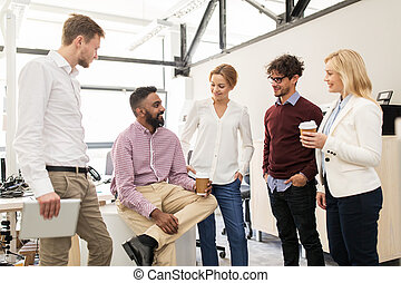 café, bureau, equipe affaires, boire, heureux