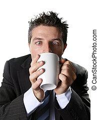 café, business, tasse, caféine, fou, inquiet, intoxiqué, complet, cravate, boire, dépendance, homme