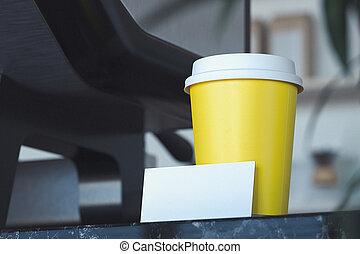 café, business, tasse, moderne, rendering., vide, clair, cafe., plat à emporter, carte, 3d
