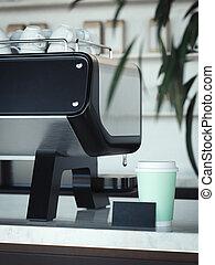 café, card., business, tasse, rendering., suivant, machine, plat à emporter, 3d