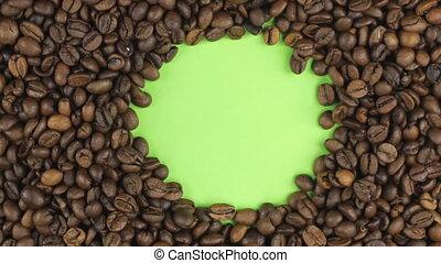 café, chroma, écran, vert, key., haricots, rotation, mensonge