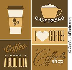 café, collection, retro