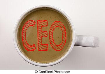 café, concept, business, cup., pdg, mot, copie, cadre, space., écriture, word., arrière-plan noir, texte, opération, blanc, président, éditorial, rouges