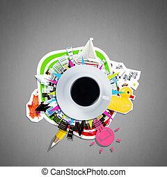 café, concept, time., image