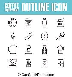 café, contour, icône