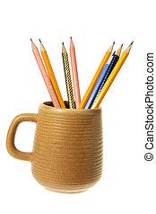 café, crayons, grande tasse