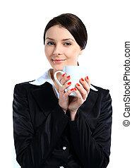café, cup., business, isolé, fond, femme, portrait, sourire, blanc
