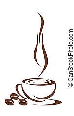 café, cup.