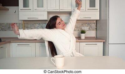 café, femme, avoir, matin