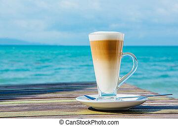 café, fond, bois, latte, mer, table