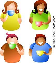 café, gens, coupure