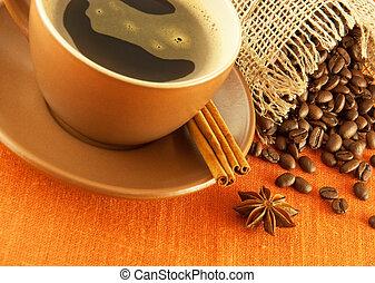 café, grains, tasse, masse, sac, fond, orange