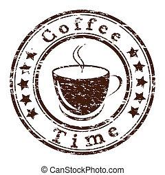 café, grunge, tasse, timbre, vecteur, temps