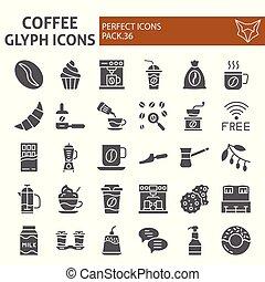 café, icône, paquet, ensemble, collection, caféine, isolé, symboles, solide, vecteur, arrière-plan., pictograms, signes, logo, blanc, café, croquis, illustrations, glyph