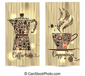café, icons., apparenté, formes, bois, illustration, fond