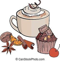 café, illustration., petit gâteau, restaurant, doux, tasse, menu., isolé, chocolat, arrière-plan., vecteur, blanc, café