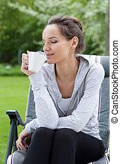 café, jardin, relaxation