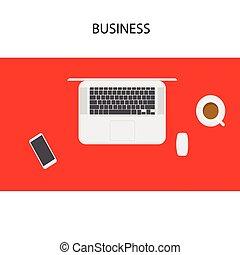 café, smartphone, ordinateur portable