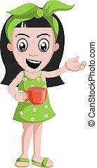 café, tasse, illustration, arrière-plan., vecteur, girl, blanc