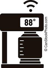 café, température, simple, style, machine, icône, intelligent