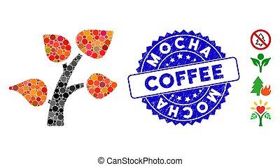 café, textured, arbre, moka, icône, collage, timbre, plante
