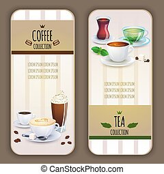 café thé, collection, labels.