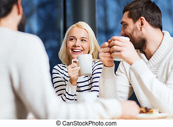 café, thé, réunion, boire, amis, ou, heureux