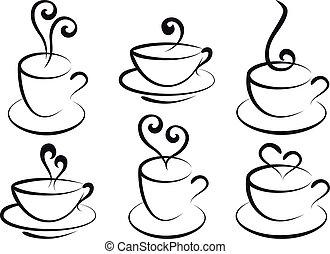 café thé, vecteur, tasses