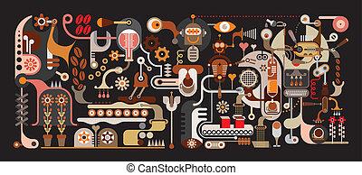 café, usine, illustration, vecteur