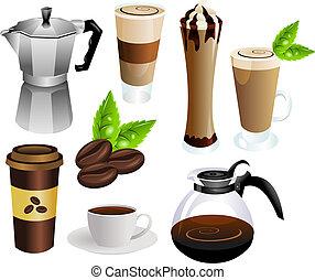 café, vecteur, ensemble