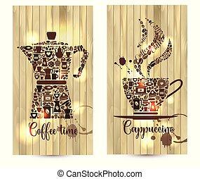 café, vecteur, illustration, formes, bois, icons., fond, apparenté
