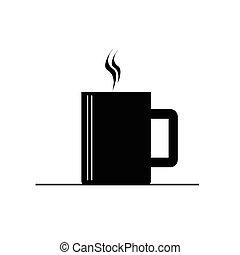 café, vecteur, noir, chaud, tasse