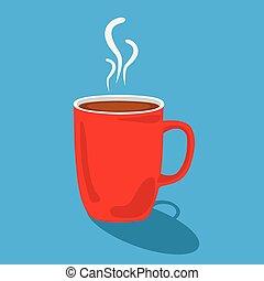 café, vecteur, rouges, illustration, tasse