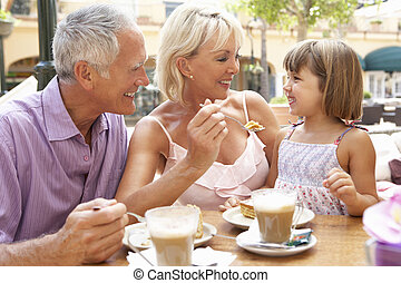 caf ?, café, grands-parents, petite-fille, gâteau, apprécier