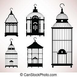 cage d'oiseaux, cage, retro, vendange, oiseau