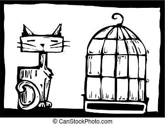 cage d'oiseaux, chat