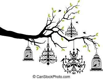 cage d'oiseaux, lustre, arbre