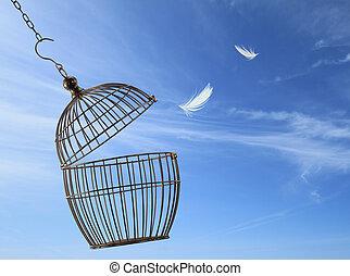 cage, liberté, concept., s'échapper