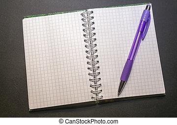 cage, noir, table, stylo, papier, bloc-notes, long, mensonges