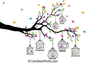 cages oiseaux, arbre, oiseaux