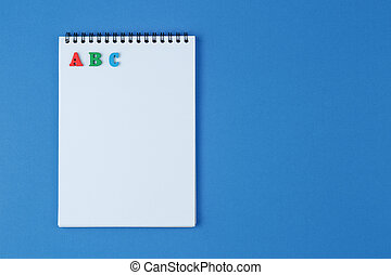 cahier bleu, lettres, fond, abc