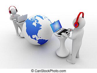 cahier, connecté, 3d, homme, internet