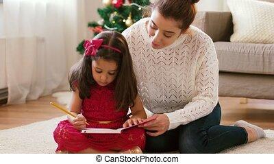 cahier, fille, noël, mère