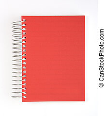 cahier, isolé, rouges