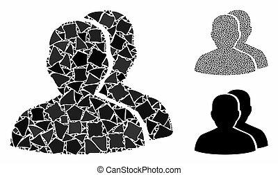 cahoteux, articles, icône, mosaïque, utilisateurs