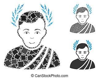 cahoteux, césar, mosaïque, morceaux, couronne, icône